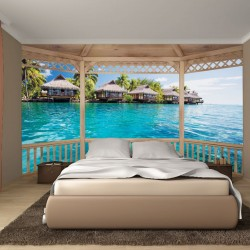Wallpapers mural wooden terrace with of view summer houses in Bora Bora