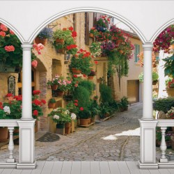 Wall mural  terrace retro street with flowers