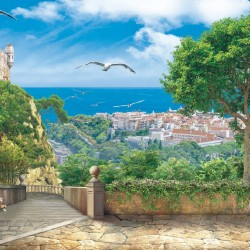 Wallpapers mural 3d view castle and seascape with stairs