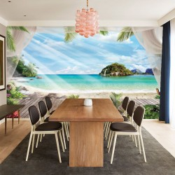 Wallpapers mural 3d view terrace and islands flora