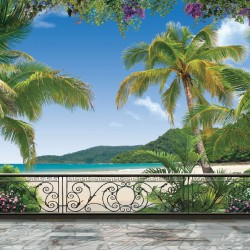 Wallpapers mural 3d view terrace with palm trees and lilac