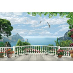 Wallpapers 3d terrace overlooking the beach and potted flowers