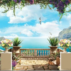 Wallpapers 3d beautiful sea terrace with colorful flowers