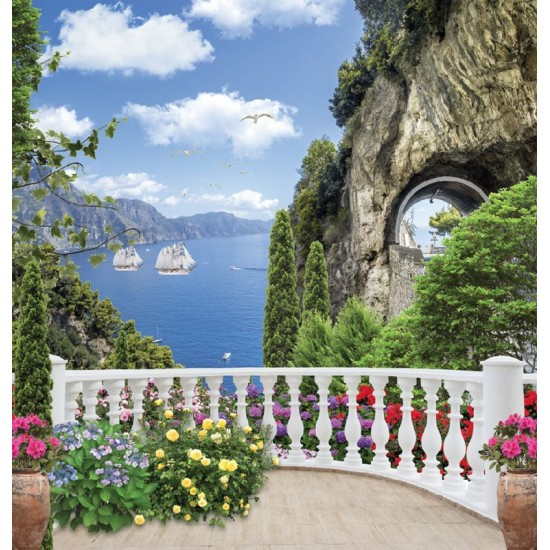 Photo mural 3d view through the terrace of sea and rock tunnel