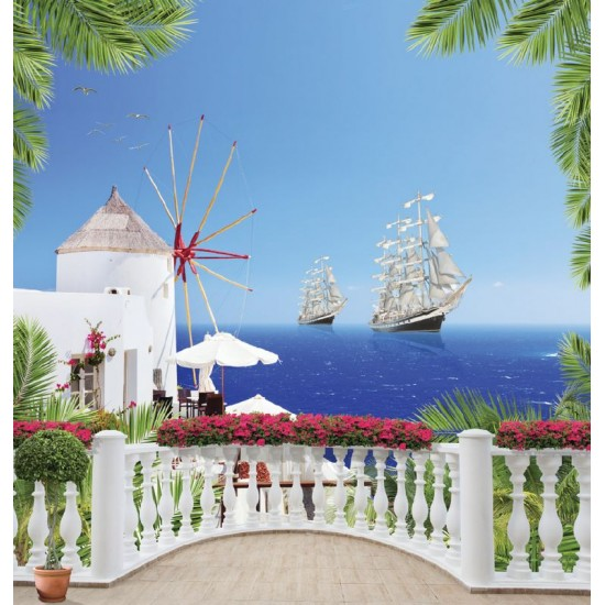 Photo mural 3d marine terrace with palm leaves and ships