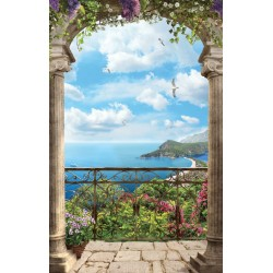 Photo mural 3d marine terrace with gulls and lilac