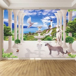 Wallpapers mural 3d seascape kolonoda with leopard