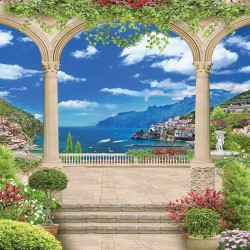 Photo mural 3d sea views over arch beautiful city