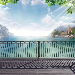 Wallpapers beautiful view over the metal parapet with coastal town