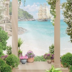 Photo mural view through columns of white flowers and sailing ship