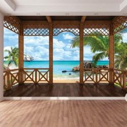 Wallpapers mural 3D tropical sea view palms veranda