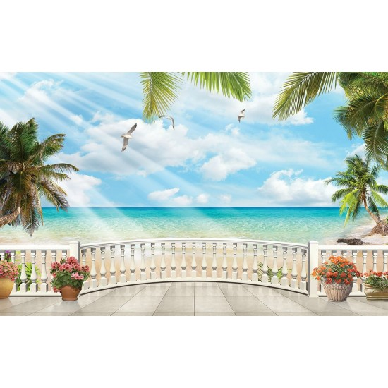 Wallpapers 3d sea view with palms oval railing