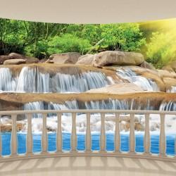 Wallpapers mural 3d Oval terrace overlooking the blue waterfall cascade