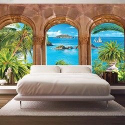 Wallpapers 3d sea view with palm trees overlooking stone arches