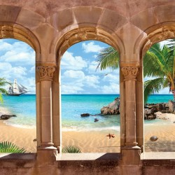 Wallpapers 3d sea view overlooking boat stone arches