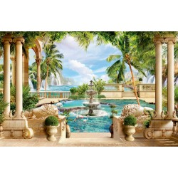 Photo mural 3d antique columns with waterfalls and fountain