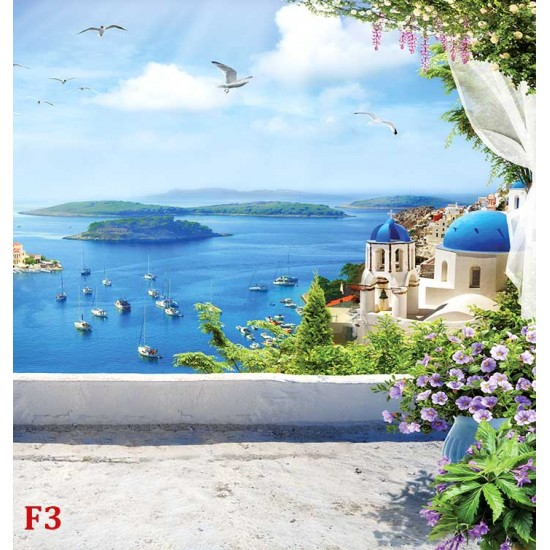 Photo mural 3d fantastic composition of the sea stone terrace