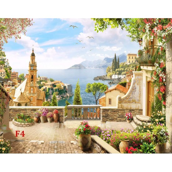 Photo mural 3d an ancient sea terrace with a clock tower