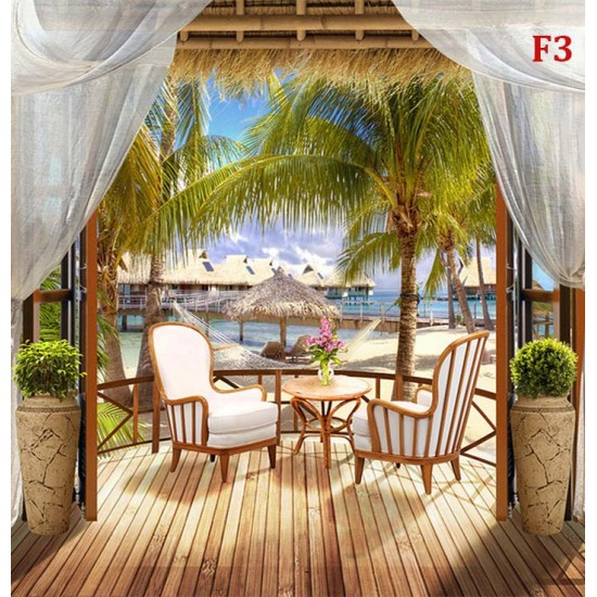 Photo mural 3d tropic terrace Bora Bora with palms and table
