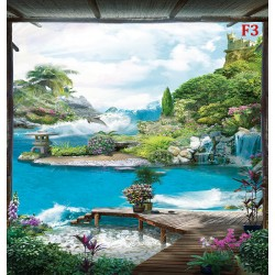 Photo mural 3D views from the veranda with the leaping dolphin and flowers