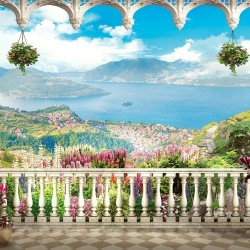 Photo mural fabulous views from the terrace with sea and island flowers