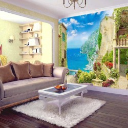 Wallpapers mural 3d a unique view of Mediterranean houses to the sea