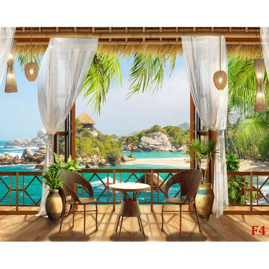 Photo mural 3d view from the veranda to island and palm trees