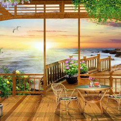 Wallpapers mural 3d-view wooden porch bridge on the beach and a table