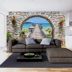 Wallpapers mural sea view with arch and bridge