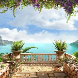 Wallpapers mural romantic sea view from the balcony with veils