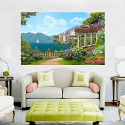 Wallpapers mural Mediterranean view with colonnade and villa