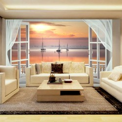 Wallpapers mural romantic sunset with ships view from balcony with veils