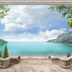 Wallpapers mural azure seascape classical columns
