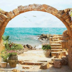 Wallpapers sea landscape with flowers over a stone arch