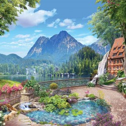 Photo wallpaper unique 3d efect landscape with lake and villas with garden