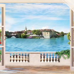 Photo wallpaper 3d effect view of an ancient seaside city through a window