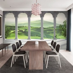 Wallpapers mural 3d columns with green fields Tuscany