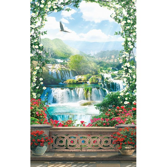 Photo mural 3d terrace with an arch of flowers and waterfall