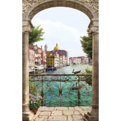 Photo mural 3d view antique columns Venice canal