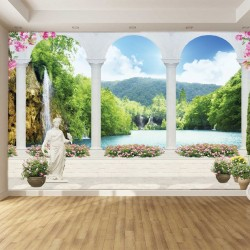 Wallpapers 3d waterfall view in columns with statues and flowers