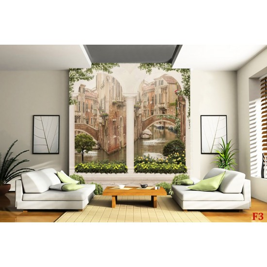 Photo mural 3d old Venice view with stone columns
