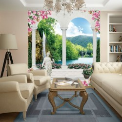 Photo mural 3d small size waterfall in columns with statues and flowers