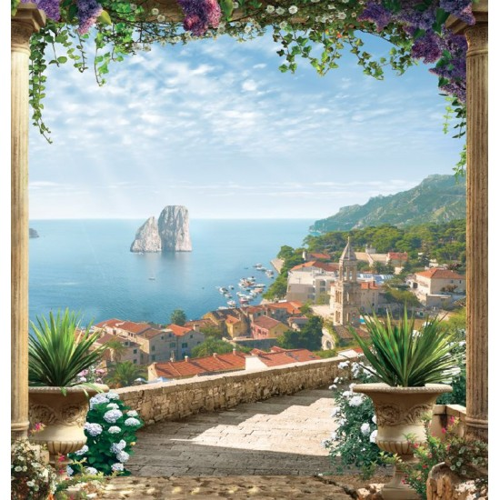 Photo mural 3d view through columns with flowers town and beach