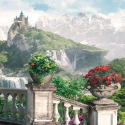 Photo mural terrace with beautiful views of the castle and waterfall