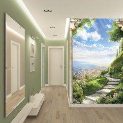 Photo mural view antique garden with flowers