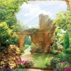 Photo mural overlooking a beautiful garden with ruins