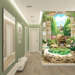 Photo mural 3d arch overlooking a beautiful park with a fountain