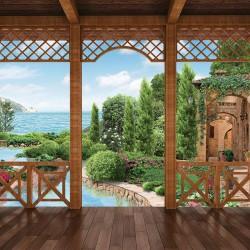 Photo mural veranda of a sea villa and garden
