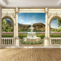 Wallpapers 3d great view of the garden with a fountain in columns