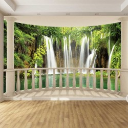 Wallpapers mural 3d Oval terrace overlooking forest waterfalls